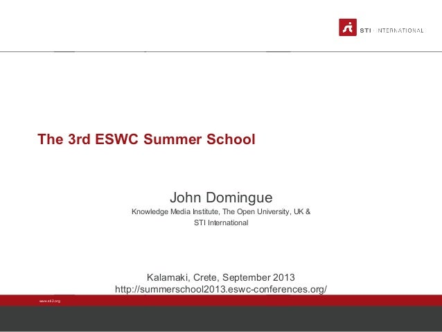 ESWC SS 2013 - Monday Introduction John Domingue: The 3rd ESWC Summer School