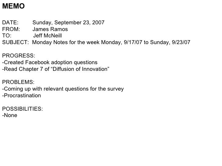 MEMO DATE:  Sunday, September 23, 2007 FROM:  James Ramos TO:  Jeff McNeill SUBJECT:  Monday Notes for the week Monday, 9/...