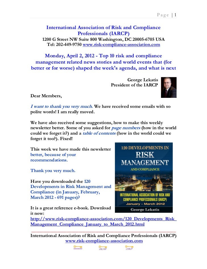 Monday April 2 2012 - Top 10 risk and compliance management related news stories and world events