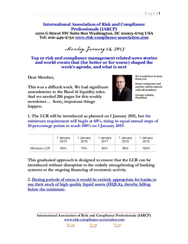 Monday January 14 2013 Top 10 Risk Compliance News Events