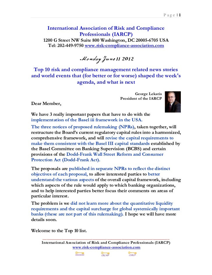 Monday June 11 2012 - Top 10 Risk Compliance News Events (114 pages)