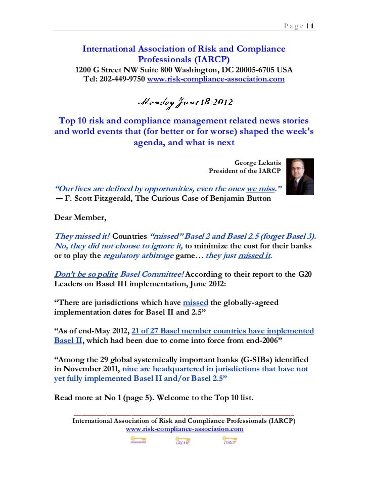 Monday June 18 2012 - Top 10 Risk Compliance News Events (114 pages)
