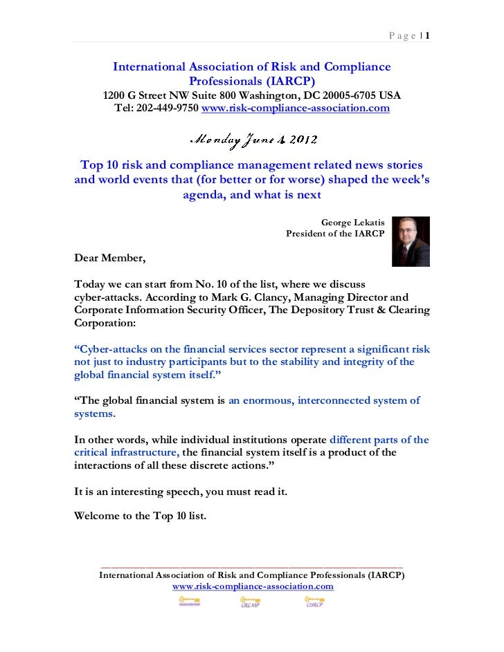 Monday June 4 2012 - Top 10 risk and compliance management related news stories and world events that (for better or for worse) shaped the week's agenda, and what is next