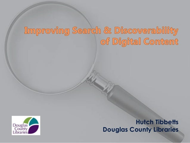 Monday matinee - Improving Search & Discoverability of Digital Content