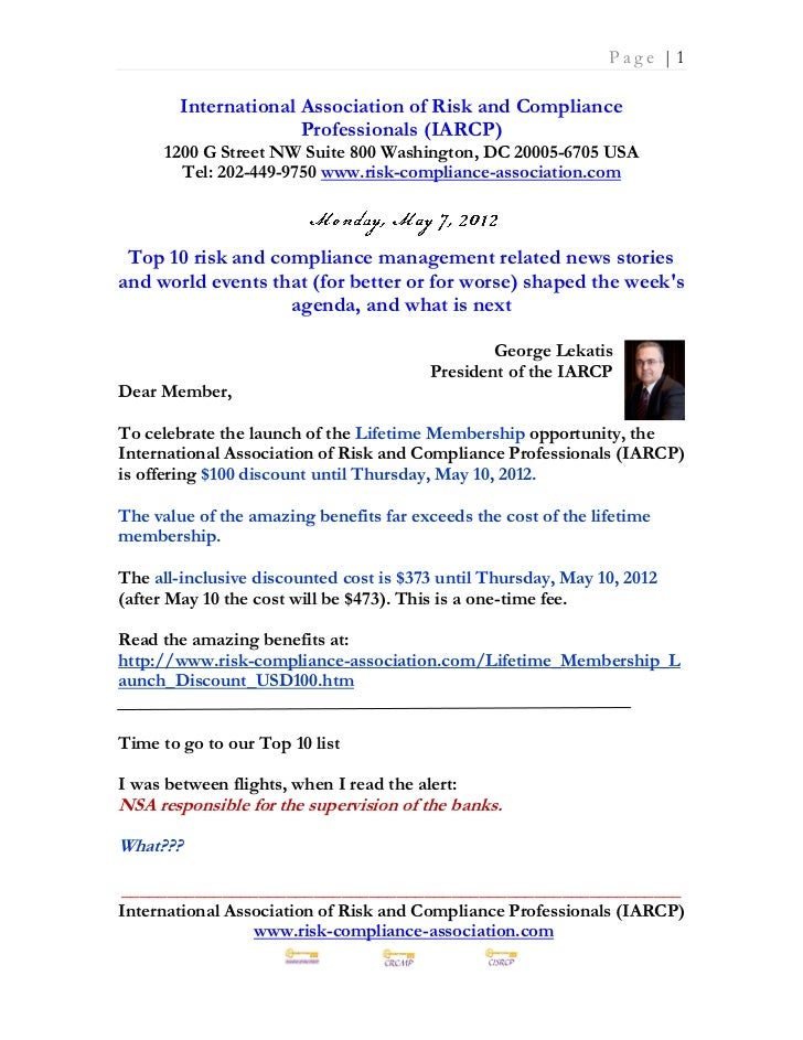 Monday May 7 2012 - Top 10 risk and compliance management related news stories and world events