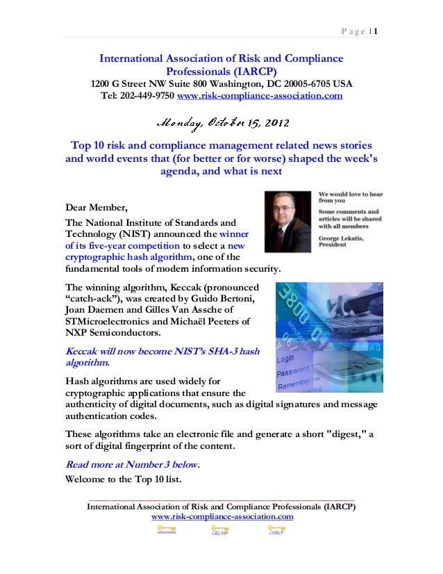 Monday October 15, 2012 - Top 10 Risk Management News