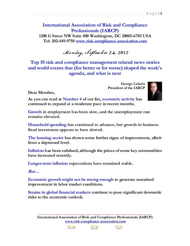 Monday September 24 2012 - Top 10 Risk Management News