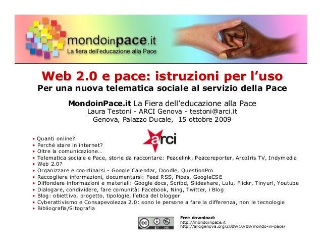 Web 2.0 e Pace: istruzioni per l'uso. L'uso dei social network nelle organizzazioni nonprofit