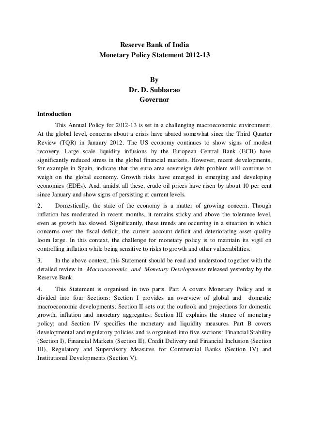Reserve Bank of India Monetary Policy Statement 2012-13 By Dr. D. Subbarao Governor Introduction This Annual Policy for 20...
