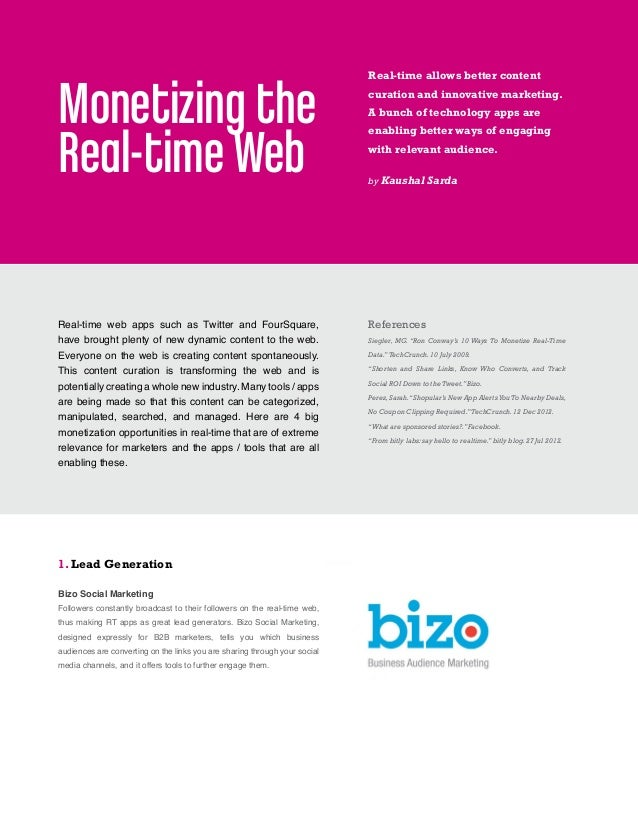 Monetizing the Real Time Web