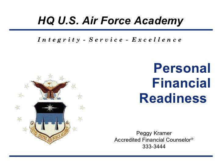 Personal Financial Readiness  Peggy Kramer Accredited Financial Counselor  333-3444