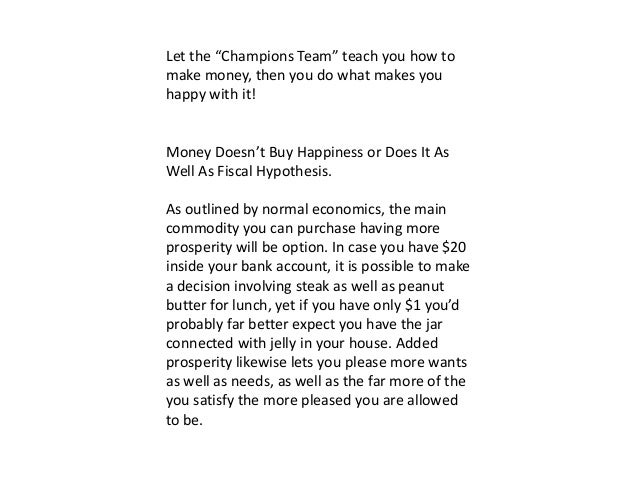Does money buy happiness essay