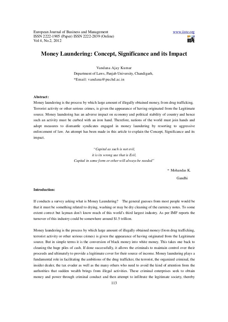 Money laundering concept significance and its impact