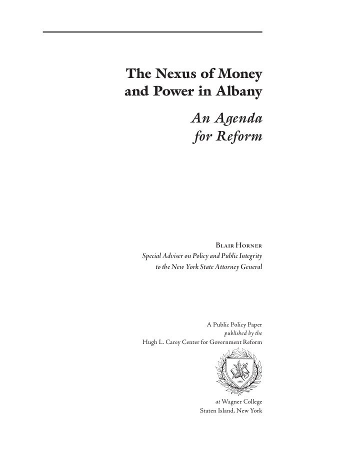 The Nexus of Money & Power in Albany