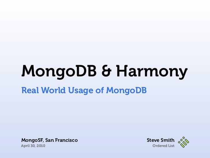 Mongo and Harmony