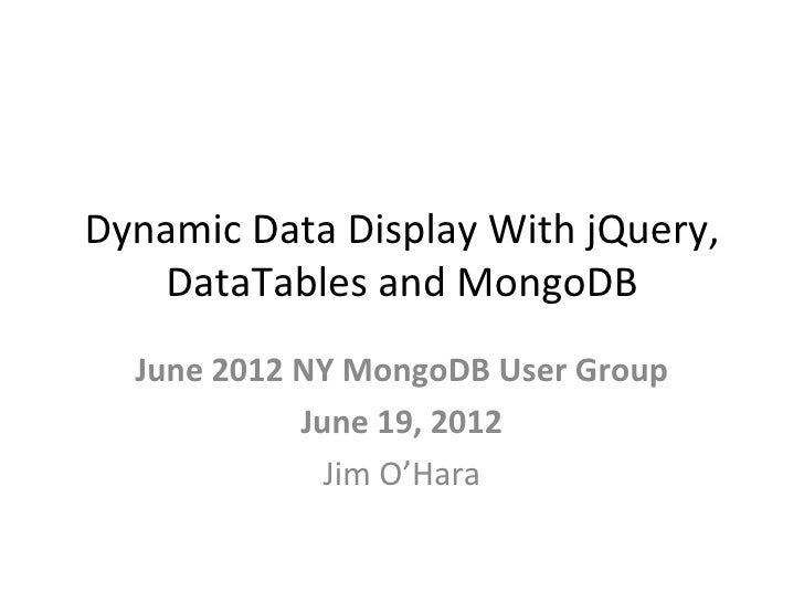 jQuery Datatables With MongDb