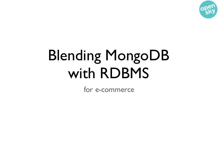Blending MongoDB and RDBMS for ecommerce