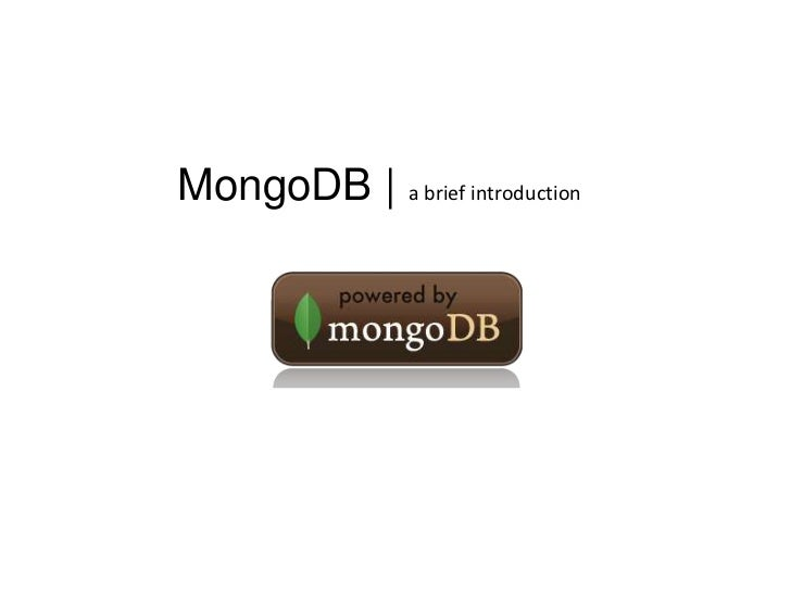 MongoDB | a brief introduction