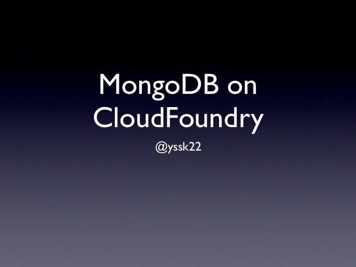 MongoDB on CloudFoundry