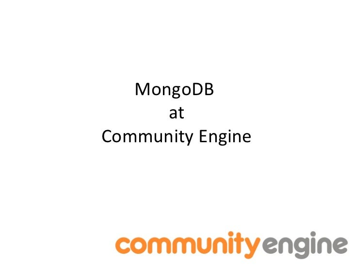 Mongo DB at Community Engine
