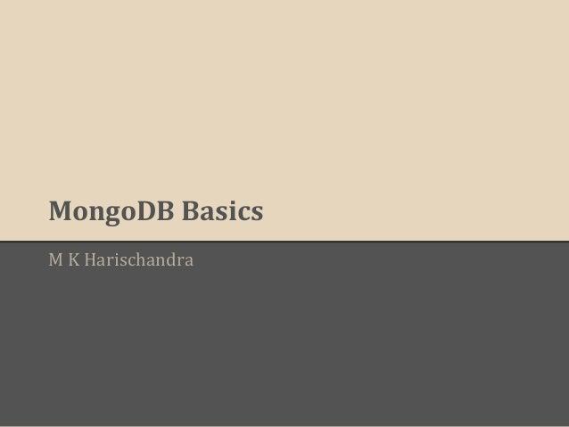 MongoDB Basics M K Harischandra