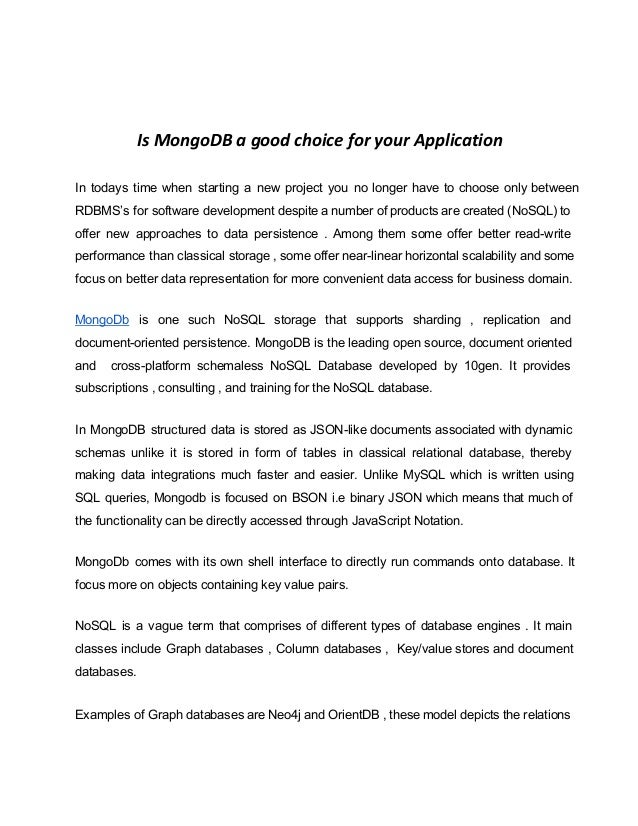 Is MongoDB a good choice for your Application