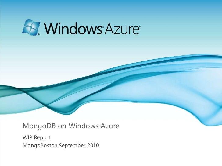 MongoDB on Windows Azure
