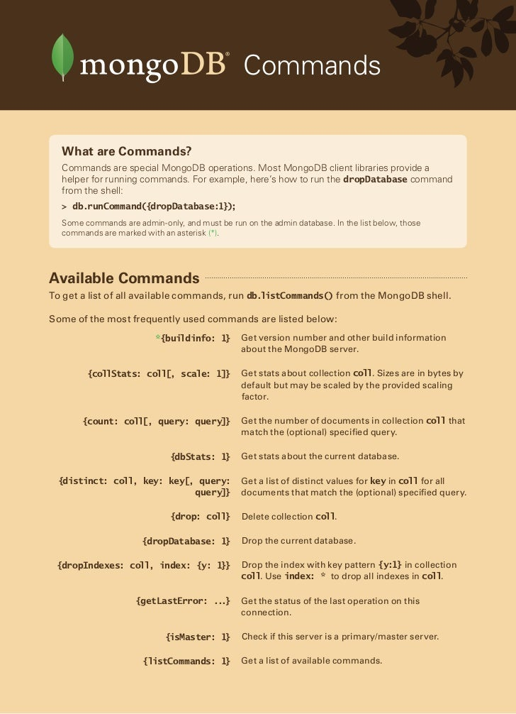 MongoDB Quick Reference Card