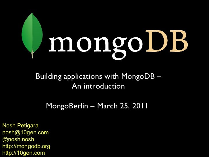 Building Applications with MongoDB - an Introduction
