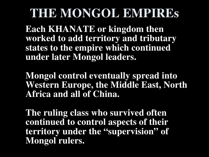 mongol impact Free mongols papers, essays the mongol wars, and the mongol's ultimate impact on different parts of the world to argue either side of this debate.