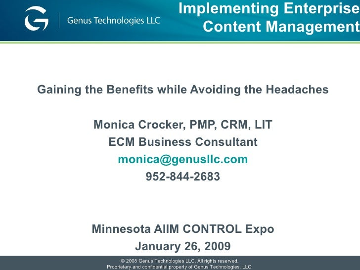 Monica Crocker   Implementing Ecm Aiim 2009