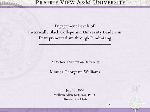 1Engagement Levels ofHistorically Black College and University Leaders inEntrepreneurialism through Fundraising___________...