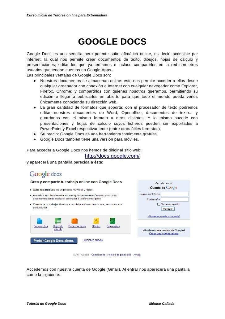 Curso Inicial de Tutores on line para Extremadura                               GOOGLE DOCSGoogle Docs es una sencilla per...