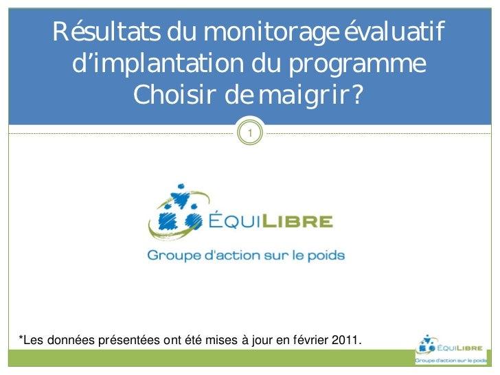 Résultats du monitorage évaluatif      d'implantation du programme           Choisir de maigrir?                          ...