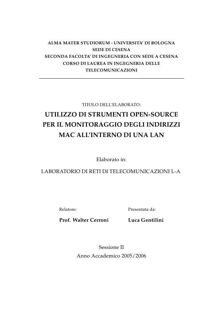 ALMA MATER STUDIORUM - UNIVERSITA' DI BOLOGNA                      SEDE DI CESENA  SECONDA FACOLTA' DI INGEGNERIA CON SEDE...