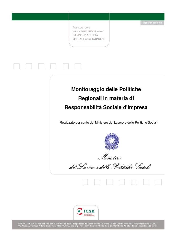 Monitoraggio Politiche Regionali Responsabilità Sociale Impresa CSR