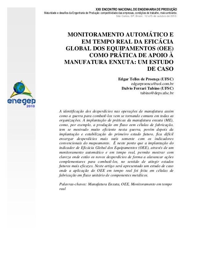 XXX ENCONTRO NACIONAL DE ENGENHARIA DE PRODUÇÃOMaturidade e desafios da Engenharia de Produção: competitividade das empres...