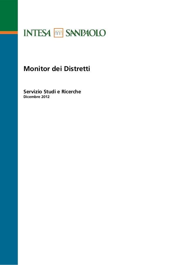 Monitor dei DistrettiServizio Studi e RicercheDicembre 2012