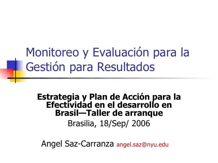 Monitoreo y evaluacion para la Gestion para Resultados