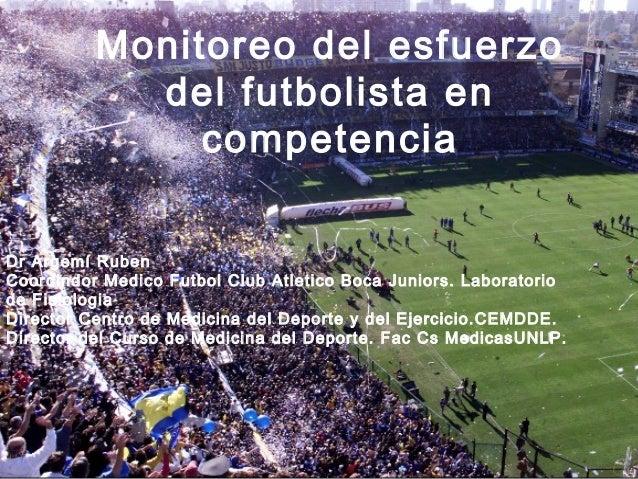 Monitoreo del esfuerzo            del futbolista en               competenciaDr Argemí RubenCoordindor Medico Futbol Club ...