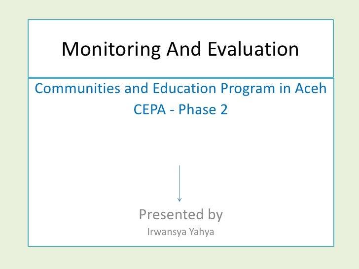 Monitoring  And  Evaluation  Slide For  Workshop