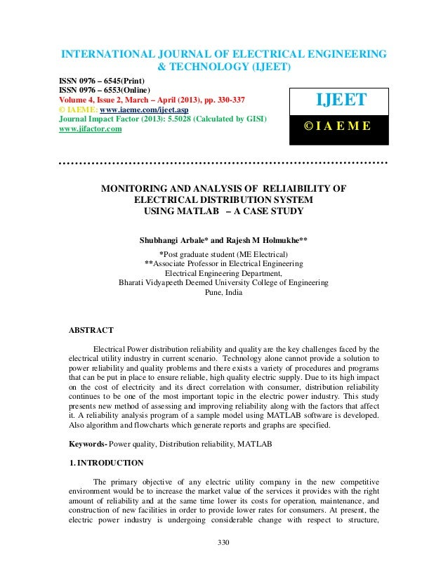 Monitoring and analysis of  reliaibility of electrical distribution system