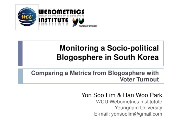 Monitoring Blogosphere S Korea
