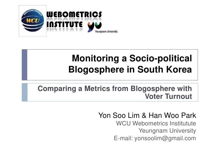 Monitoring Blogosphere S Korea