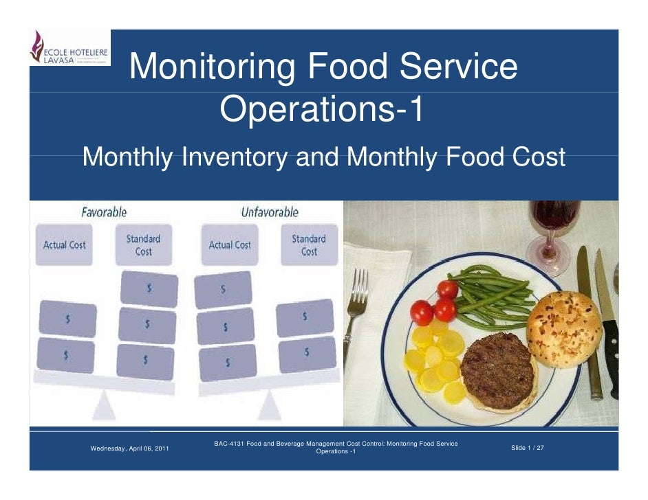 Monitoring food service operations 1