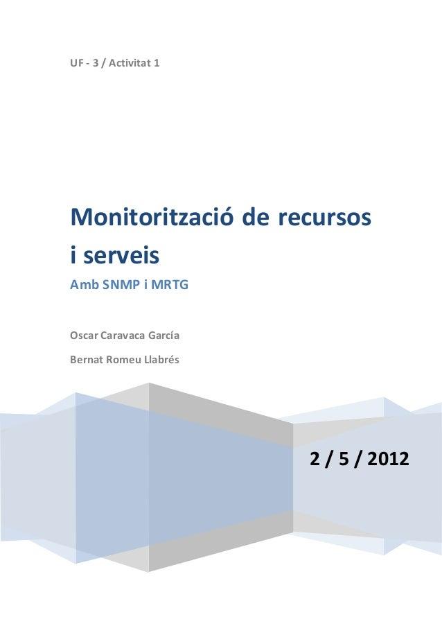 UF - 3 / Activitat 12 / 5 / 2012Monitorització de recursosi serveisAmb SNMP i MRTGOscar Caravaca GarcíaBernat Romeu Llabrés