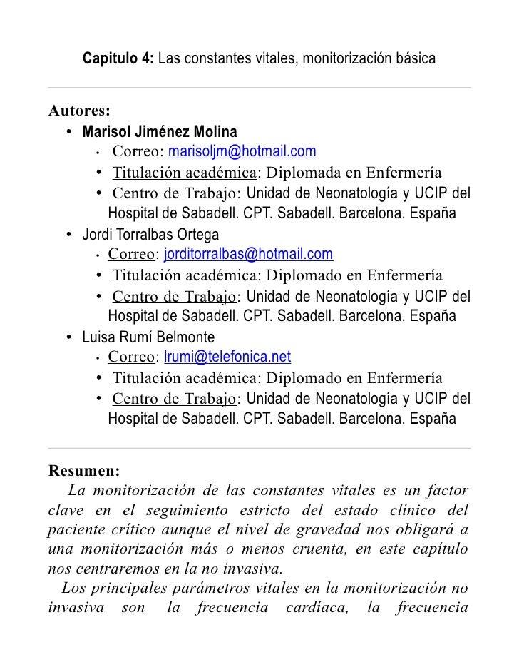 Capitulo 4: Las constantes vitales, monitorización básica   Autores:   • Marisol Jiménez Molina       • Correo: marisoljm@...