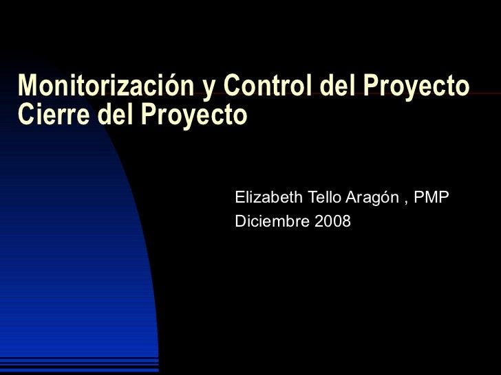 Monitorización y Control del Proyecto  Cierre del Proyecto Elizabeth Tello Aragón , PMP Diciembre 2008