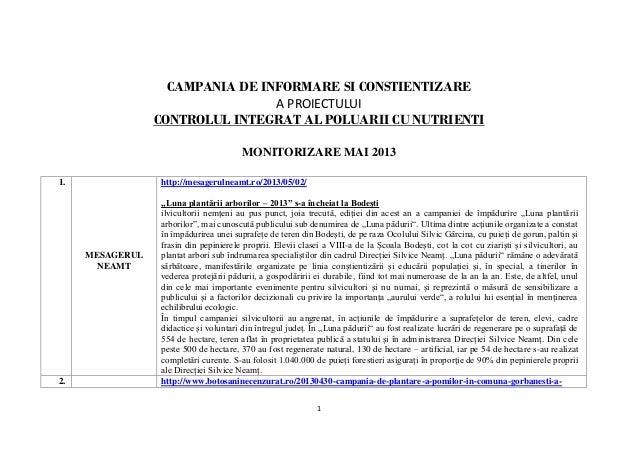 1 CAMPANIA DE INFORMARE SI CONSTIENTIZARE A PROIECTULUI CONTROLUL INTEGRAT AL POLUARII CU NUTRIENTI MONITORIZARE MAI 2013 ...