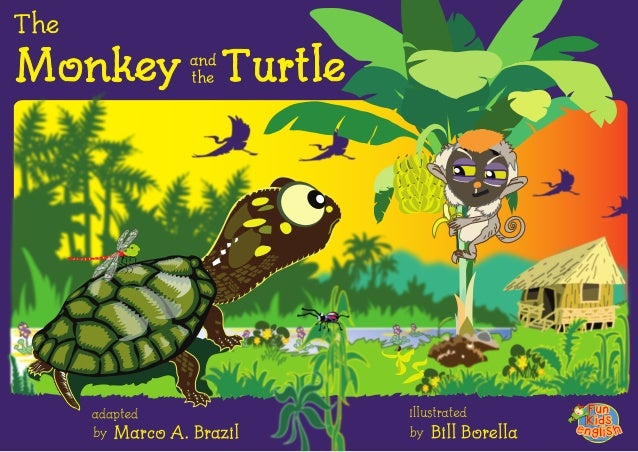 the plot of the monkey and the turtle Versions of the story has a common theme of a weaker but cunning character ( the tortoise or turtle) winning over a stronger adversary (the monkey)[3.